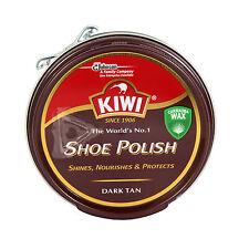 Kiwi In Pelle Lucido Da Scarpe Scarpe Stivali TIN Dark Tan colore CERA DETERGENTE PER SPAZZOLA
