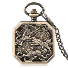 Bronze Mechaincal Hand Winding Steampunk Pocket Watch Tiger Square Chain Luxury