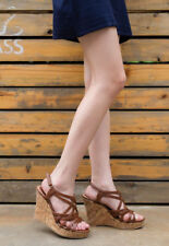 Shesole Womens Wedding Sandals Wedge Shoes Platform HEELS Dress Bridal Gladiator Brown Au9