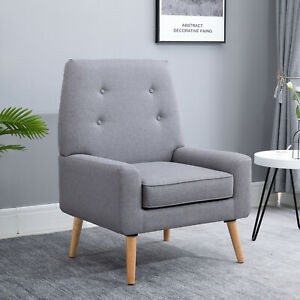 HOMCOM Nordic Single Cushion Padded Chair Wooden Armchair  Button Tufted Seat
