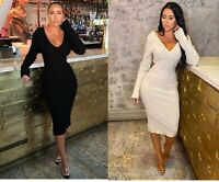 Ladies Sexy Wrap V-neck Ribbed Knit Long Sleeve Slim Bodycon Jumper Midi Dress