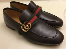 GUCCI Donnie Web GG Loafer Men's Brown Leather Shoes Size 7
