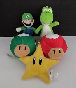 Lot of 5 Super Mario Nintendo Luigi Yoshi Star Mushroom Plush Toys