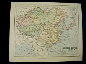 Original 1887 Antique Map of CHINESE EMPIRE & JAPAN