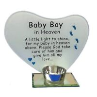Baby Boy Glass Memorial Heart Tea Light Candle Holder Photo Frame Plaque