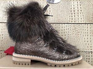 NEW CHRISTIAN LOUBOUTIN Fanny Flat Hiking Boots Fur Roche Leather Shoe EUR40