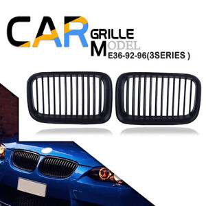 For BMW E36 325i 320i 318is 1992-1996 Matte Black Hood Kidney Grill Grille LH+RH