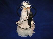 New Beautiful Wedding Caketopper with Bride & Groom with Heart BackGround & Lily