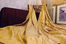 """LARGE BESPOKE SILK STYLE CURTAINS RICH FRENCH GOLD LINED WEIGHTED 82"""" L x 50"""" W"""