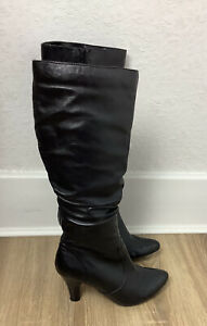 Hush Puppies Leather Heeled Knee Length Boots  - In Black - Size 6