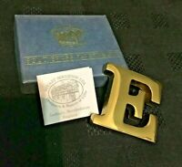 "Stuart Houghton Solid Brass Paperweight - ""E"""