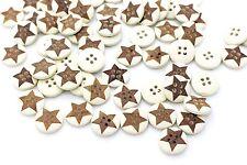 Brown Star Wooden Buttons Four Holes Children Baby Blouse Shirt Beige 13mm 20pcs