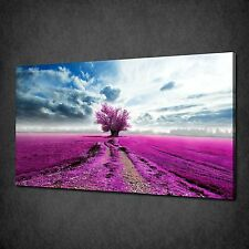 PINK PLUM TREE LAVENDER FIELD CANVAS WALL ART PRINT PICTURE READY TO HANG