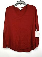 Chelsea Womens Red Long Sleeves Rib Everyday V-Neck Pullover Sweater 28 NWT $69