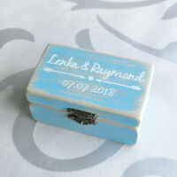 Personalized Ring Box Rustic Wedding Ring Box Vintage Blue Ring Bearer Box