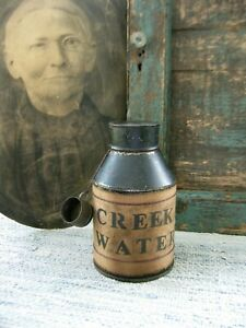 Early Antique Pantry Tin Canister Creek Water w Tiny Tin Cup Free Shipping
