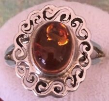 Size 7 Genuine Baltic Cognac Amber Oval Cabochon 925 Sterling Silver Scroll Ring