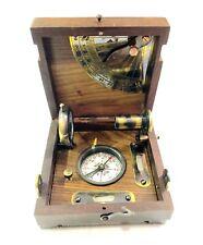 Nautical Maritime Brass Wooden Marine Box Compass Telescope & Magnifying Glass