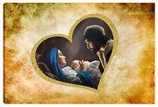 Quadro moderno 100x60 sacra famiglia madonna gesù capezzale capoletto cuore oro