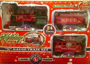 "Lionel ""G"" Gauge 24 pc Holiday Train Set 62134 Locomotive Gift Car Caboose"