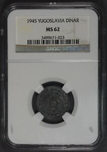 1945 Yugoslavia 1 Dinar coin, NGC MS62, WWII issue