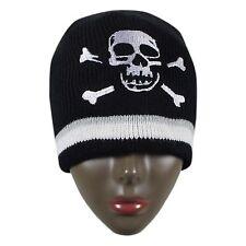 Black Beanie Cap Berret Unisex Skull Beanie Chullo Street Punk Gothic 1 Sz Fit