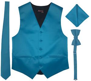 Men Vest Satin Necktie Bow tie pocket square Full Back top quality formal US