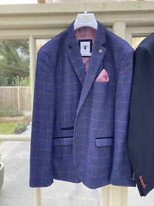 "Marc Darcy 'Harry'  Indigo Tweed Check Blazer 50"" Chest"