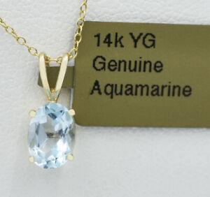 GENUINE 0.86 Cts AQUAMARINE PENDANT 14k YELLOW GOLD *** N W T ***Free Chain**