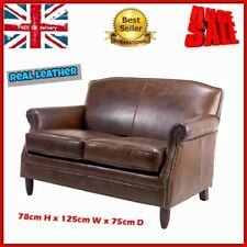 Stunning Leather Sofa Couch Vintage 2 Seater Loveseat Living Room Home Furniture