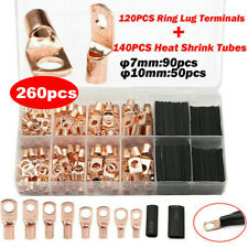 260PC Wire Ring Terminal Heat Shrink Tube Copper Connectors Car Audio Terminals