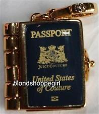 NWT Juicy Couture RARE USA BLUE PASSPORT BOOK CHARM Opens Up! GOLD Scottie Dog