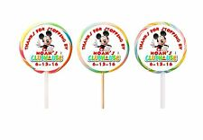 30 Mickey Mouse Clubhouse Birthday Stickers Lollipop Labels Party Favors 1.5 in