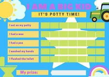 Potty Toilet Training Tractor Reward Chart & Kids Child Stickers - A4 Reusable