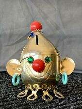 1960's Napier Gold Plated Clown Bank, Jeweled Eyes and Tassels, with Earrings