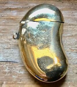 Antique Vesta Case Kidney Shape Polished Brass Construction Spring Loaded Lid