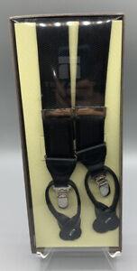 NWT TRAFALGAR Black Convertible Suspenders Braces Leather Fittings