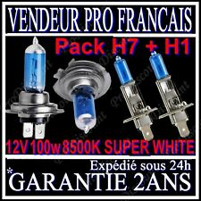 KIT DE 4 AMPOULE LAMPE HALOGENE PHARE XENON GAZ SUPER WHITE H1 H7 100W 8500K 12V