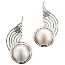 """1 1/4"""" WHITE MABE PEARL STERLING SILVER POST earrings"""