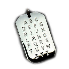 "ALPHABET PENDANT NECKLACE ABC ENGISH LANGUAGE LETTERS DOG-TAG BALL CHAIN 24"" USA"