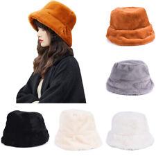 Women Bucket Cap Bush Hat Wide Brim Fluffy Warm Winter Retro Fashion Casu,XB;AU