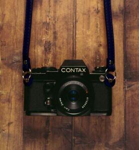 Blue 120cm PU Leather Camera Strap For Canon Nikon Sony Olympus Panasonic Leica