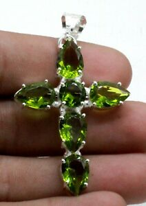 925 Sterling Silver Green Peridot Gemstone Handmade Jewelry Cross Pendant Size-2