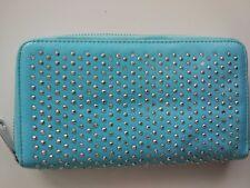 Sky blue leather fashion purse hand bag