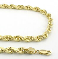 REAL 10k Yellow Gold Mens Womens 5mm Diamond Cut Rope Link Chain Necklace 20""