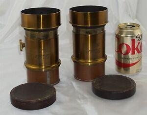 Darlot Paris Large Brass Petzval Matched Set of Lenses for Stereo Magic Lantern