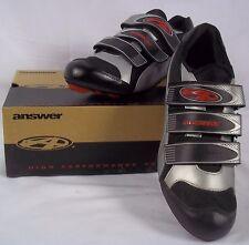 Answer Mens Road Bike Cycling Shoes SLK-H-04  EU Sz 42 US 8.5 Black & Silver NIB
