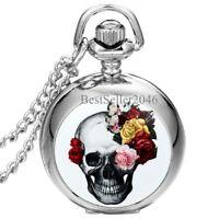 Gothic Devil Retro Flower Skull Quartz Pocket Watch Necklace Halloween Gift