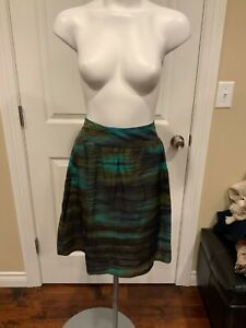 Theory Teal & Black Silk Striped A-Line Skirt, Size 2