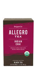 Allegro Organic Indian Chai Black Tea 20 Tea Bags 1.4 oz